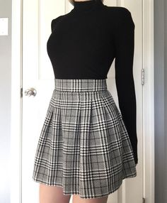 teenager outfits for school . teenager outfits for school cute Cute Casual Outfits, Edgy Outfits, Mode Outfits, Korean Skirt Outfits, Summer Outfits, Grey Skirt Outfits, Korean Outfits Cute, Skirt Outfits For Winter, Pleated Skirt Outfit Short