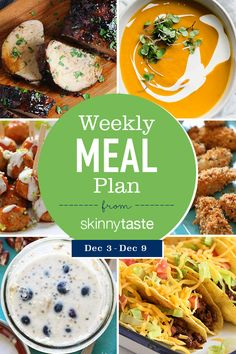 A free flexible meal plan including breakfast, lunch and dinner and a shopping list. All recipes include calories and Weight Watchers Freestyle™ SmartPoints®. Happy December everyone! If you haven't started your Holiday shopping yet, Stomach Fat Burning Foods, Best Fat Burning Foods, Weight Watchers Menu, Weight Loss Meal Plan, Good Healthy Recipes, Diet Recipes, Healthy Foods, Diet Foods, Healthy Options