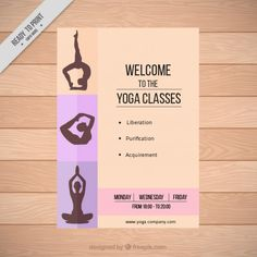 Silhouetes Yoga Classes Flyer Free Vector