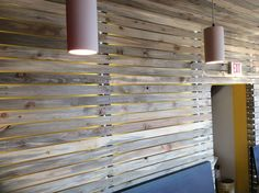 Beetle kill pine wall slats from Sustainable Lumber Co.