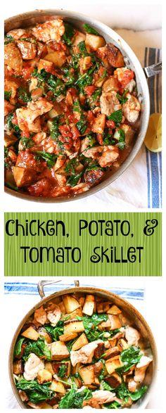 Chicken Potato Tomato Skillet  #justeatrealfood #kitchenofyouth
