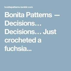 Bonita Patterns — Decisions… Decisions… Just crocheted a fuchsia...