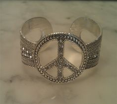 Valentine's Day Gifts for your sweetheart or tween! ♥ BEAUTIFUL Silver Diamond Peace Cuff Bracelet $28