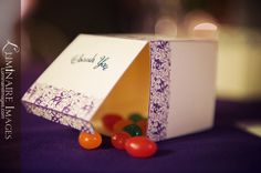 White favor boxes with purple accent print, filled with multicolor jelly beans Wedding Couples, Wedding Ideas, Purple Accents, Wedding Favor Boxes, Alternative Wedding, Jelly Beans, Red Dates, Wedding Ceremony Ideas