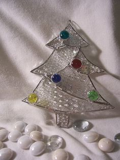 clear bubble stained glass Christmas tree by GlassyEyedGals
