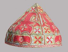 uzbek Shahrisyabz silk embroidered hat, 19th century