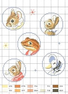 Sweet little animals cross stitch