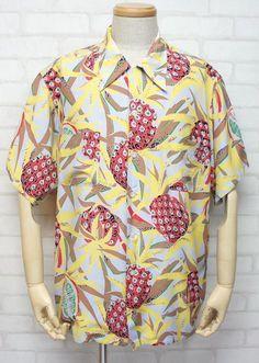 "50s duke kahanamoku hawaiian shirts ""Pineapples"""