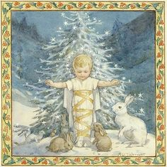 Margaret Tarrant - 'Brethren of the Woods' or 'A Blessed Christmas' - Jesus with Christmas Tree and Rabbits. Christmas Jesus, Christmas Time Is Here, Christmas Past, Christmas Pictures, Xmas, Catholic Art, Religious Art, Christmas Illustration, Vintage Christmas Cards