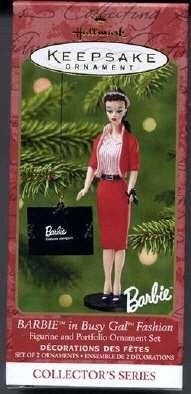 Barbie in Busy Gal Fashion Set of 2 Ornaments 2001 Hallmark Keepsake Ornaments
