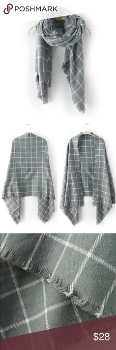 """Gray White Grid Pattern Plaid Fringe Scarf Chic steel gray and white soft scarf with a thin grid pattern! Loose fringe edges make this accessory a little shabby and a whole lotta chic! It's pretty sizable at app 27"""" x 72"""". Soft acrylic fabric, feels like brushed cotton. This is boutique, something brand new in packaging!  No trades/holds. Bundle for 10% off! Accessories Scarves & Wraps"""