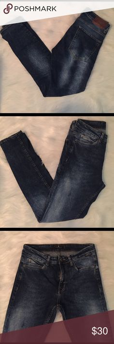 "Zara Man Faded Denim Jeans Men's 30 Zara Man Denim Collection. Men's 30"" Waist, 29"" Inseam, and 5.5"" Leg Opening. Gently used. Skinny Fit. Dark wash with faded areas front and back. Zara Jeans Skinny"