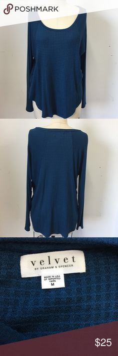 Velvet Women's Blue Long Sleeve Top SIZE M Blue long sleeve jersey top. Scoop neckline New with tags W16 PE19 Velvet Tops Tees - Long Sleeve
