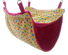 Double Decker Rat Hammock   Ferret Hammock   Cage Accessories   A fabulous double level rat or ferret hammock, also great for degus and other critters that love to lounge. This one is in Funky Hearts style but you can make it with different designs.
