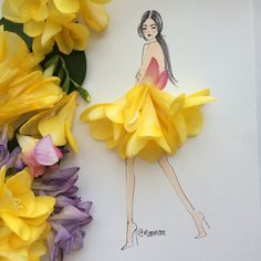 Creating whimsical art with flowers, veggies and other materials is a way for me to share what I love! Work in the fashi Art Floral, Deco Floral, Arte Fashion, Floral Fashion, Fashion Illustration Dresses, Fashion Sketches, Fashion Illustrations, Flower Petals, Flower Art