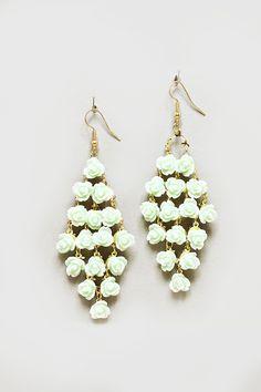 Mint Rose Chandelier Earrings on Emma Stine Limited