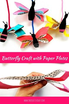 Welcome in Spring or encourage some imaginative play with this butterfly craft made from paper plates. This kids craft activity would be perfect to couple with a reading of The Very Hungry Caterpillar. Paper Plate Crafts, Paper Crafts For Kids, Book Crafts, Crafts To Make, Paper Plates, Craft Kids, Preschool Crafts, Spring Arts And Crafts, Summer Camp Crafts