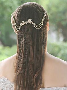 Handcess nozze pettini foglia fiore strass oro boho catena testa accessori  per donne spose e damigelle  Amazon.it  Bellezza fe8d6cf46197