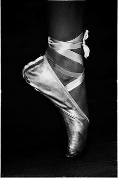 """Stained"" - Black and White Portrait Photography by Lynn Langmade - monochrome photo of a foot in silver ballet pointe shoes"