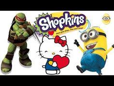 Minions Box full of Shopkins Hello Kitty Ninja Turtles blind bags opening