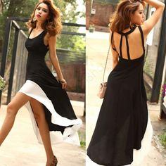Fashion Women's Hem Tank Swallow Tail Maxi Long Summer Beach Party Chiffon Dress Big Size Women Sundress Free Black Dress * Learn more by visiting the image link.
