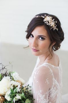 Rose Gold and gold Crystal Bridal Headpiece by GildedShadows