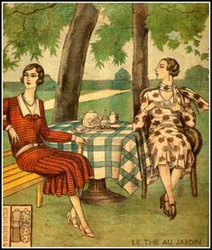 """Tea in the garden - Illustration shown on the front cover of the French journal """"Le Petit Echo de la Mode"""", September 1929"""