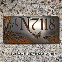 Butterfly Address Plaque Home numbers 16 x 8 inches
