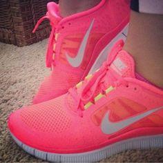 Neon Pink Nike Free Run