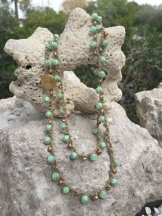 Beachy Mint and Gold Beads Crocheted on Tan Bead by WaterhouseCo