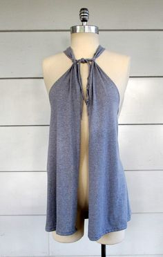 T-shirt upcycle - No Sew Vest; swimsuit coverup?