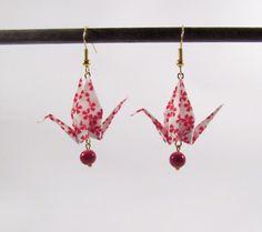 Origami birds earrings * MOYO * Jewelry . Crane . Paperbird . Paper . Washi…