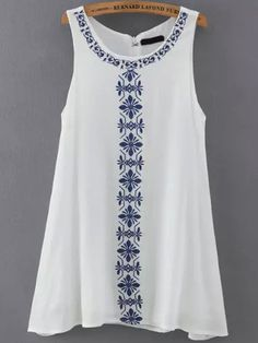 To find out about the White Sleeveless Embroidered Loose Dress at SHEIN, part of our latest Dresses ready to shop online today! White Shift Dresses, Sexy Summer Dresses, Casual Dresses, Fashion Dresses, Dress Summer, White Dress With Sleeves, Dresses With Sleeves, Top Chic, Ethnic Fashion