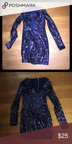 Long sleeved sequined navy dress Beautiful sequined dress with sheer down the middle and zipper in the back WINDSOR Dresses Midi