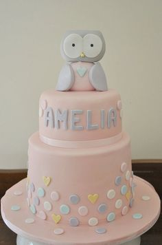 owl b'day cake pink Owl Cakes, Amai, Cake Decorating, Peaches, Baby Showers, Birthday, Owls, Poppy, Claire