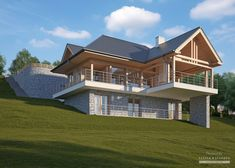 Two storey house in modern style with usable area House with car roof. Minimum size of a plot needed for building a house is m. Modern Bungalow House, Bungalow House Plans, Dream House Plans, Modern House Plans, Modern House Design, House Built Into Hillside, Tiny House Exterior, Thatched House, House Construction Plan