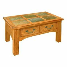 Cheyenne Condo Coffee Table in Distressed Rustic Golden Oak by Peters-Revington. $349.99. 284311 Features: -Condo cocktail table.-Natural solid slate tiles.-Rustic antique pewter hardware.-Provides drawer storage. Construction: -Oak solids construction. Color/Finish: -Distressed rustic golden oak finish. Assembly Instructions: -Assembly required. Collection: -Cheyenne collection. Warranty: -Manufacturer provides one year warranty.