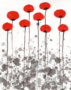 Watercolor Painting: Watercolor Flowers -- Original Watercolor --  Happy Memories  -- Red Flowers -- 8x10. $35.00, via Etsy.