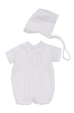 A crisp spread collar and button accents top a cotton christening romper detailed with neat, pintucked pleats and paired with a matching cap. Style Name:Little Things Mean A Lot Christening Romper & Hat Set (Baby). Style Number: Available in stores. Boy Baptism, Christening, Baby Boy Romper, Kids Wear, Little Things, Baby Boy Outfits, Nordstrom, Rompers, Legs