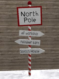 Second Life Marketplace - North Pole Sign Post - Christmas Decoration/Candy Cane/Santa/Elf