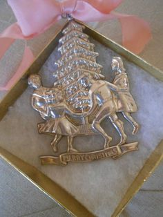 ANTIQUE STERLING SILVER GORHAM CHRISTMAS ORNAMENT CHILDREN ROUND THE TREE 1977 | eBay