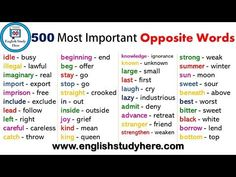 English 1000 Opposite / Antonym Words List, Opposites, Opposite Words about – exactly above – below absence – presence abundance – Opposite Words List, English Opposite Words, Learn English Words, English Study, English English, Teaching English Grammar, English Writing Skills, English Vocabulary Words, English Antonyms