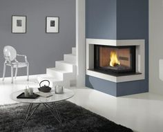 :: Luxury Home Design :: two sided corner fireplace Mais Corner Gas Fireplace, Two Sided Fireplace, Fireplace Redo, Fireplace Doors, Fireplace Design, Freestanding Fireplace, Home Additions, Apartment Living, Living Room