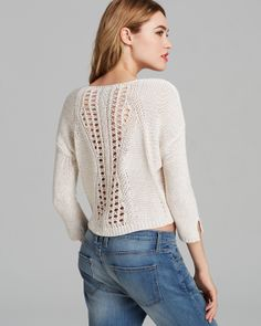 AQUA Sweater - Open Stitch Crop | Bloomingdale's