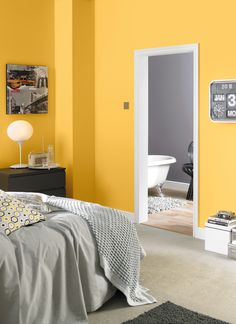 10 Romantic Bedroom Color Ideas One Wall Yellow And Gray Collection - Natura. Romantic Bedroom Colors, Grey Bedroom Colors, Grey Bedroom Paint, Bedroom Color Schemes, Beautiful Bedrooms, Bedroom Wall, Bedroom Decor, Bedroom Ideas, Grey Paint