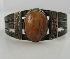Vintage Native American sterling silver and petrified wood bracelet