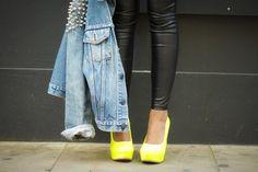 Leather leggings, yellow heels & denim jacket ❤️