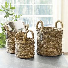 Can work as planters or catch alls. Nice to have a set of 3. Set of 3 Marisol Baskets