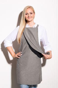 Design: Andres Labi, Mariliis Pikkar. Model: Teele. Photo: Stuudio7 Black Tie, Apron, High Neck Dress, Grey, Fabric, Model, Cotton, How To Make, Fashion Design