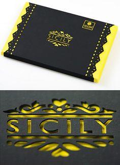Sicily chocolate - peekaboo laser cut packaging